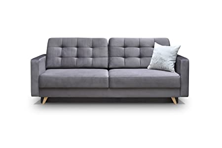 Schlafsofa Kippsofa Sofa mit Schlaffunktion Klappsofa Bettfunktion mit Bettkasten Couchgarnitur Couch Sofagarnitur - CARLA (Grau)