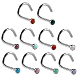 XPIRCN Surgical Steel Nose Stud Screw Rings Stainless Steel with Synthetic Opal 20GA (0.8mm) 10PCS