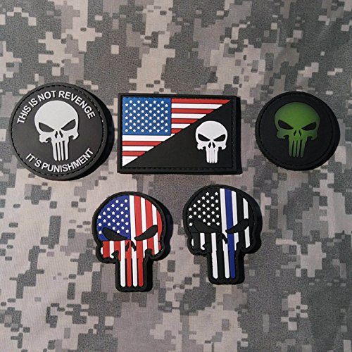 Learn More About Punisher PVC Rubber Morale Patch Set - 5 Patch Set - PVC Velcro Backed - High Quali...