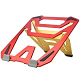 AICHESON Laptop Computer Stand Aluminum Alloy Red and Yellow, Portable Notebook Riser Ventilated PC Holder Compatible with Apple Mac MacBook Pro/Air 11-15.4 Inches (Color: Red)