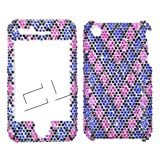 Apple iPhone 3G/3GS V Shape Pink and Blue Rectangles Full Rhinestones/Diamond/Bling – Hard Case/Cover/Faceplate/Snap On/Housing