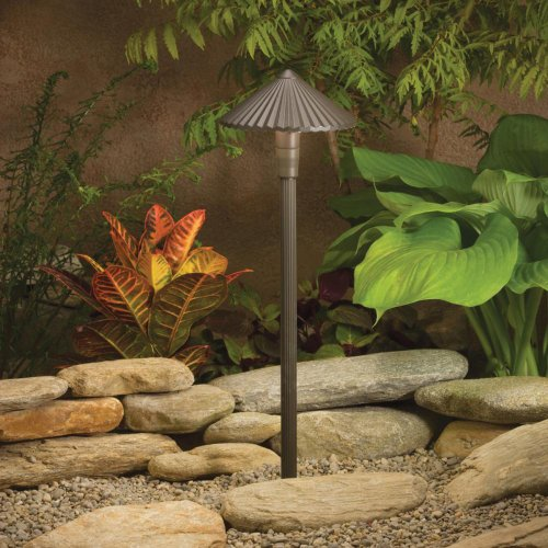 Kichler Lighting 15418AZT Ribbed Roof 1-Light 12-Volt Landscape Path & Spread Light, Textured Architectural Bronze