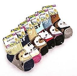 SDBING 6 Pair Kid Super Warm Fuzzy Soft Thick Socks 14-16cm, 4-7 Year old (Animal)
