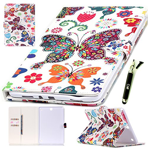 Galaxy T350 Case, ZZQ Colorful Painting PU Leather Flip Soft TPU Stand Protective Case Magnet Design Flip Wallet Case and [Card Slot] For Samsung Galaxy Tab A 8.0 Inch SM-T350 (Butterfly)