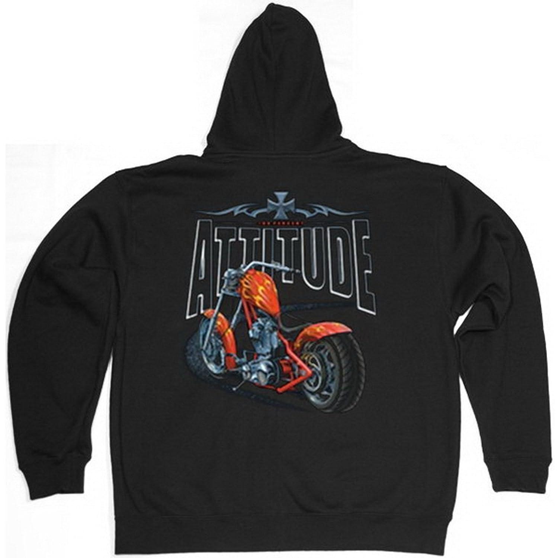 Sweatshirtjacke mit Kapuze trendiges Biker-Motiv: Attitude – Zip Hoodie – tolles Design online bestellen