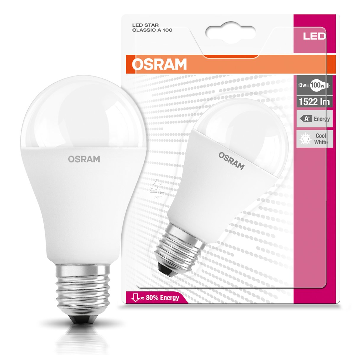 Osram Star Classic a 100 CW E27 BLI Lampada LED, Standard, 13 Watt, Bianco Freddo