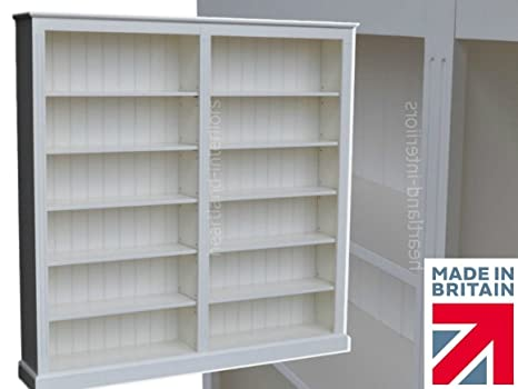 100% Solid Wood Bookcase, 6ft x 6ft Handcrafted & White Painted Library Display Storage Shelving. Bookshelves. (BBK02-P)