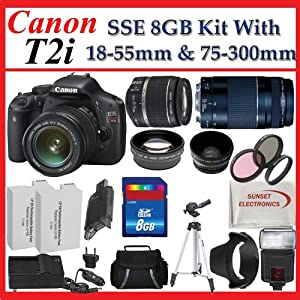 Canon EOS Rebel T2i Digital SLR Camera Kit with Canon EF-S 18-55mm f/3.5-5.6 IS Lens & Canon EF 75-300mm f/4-5.6 III Telephoto Zoom Lens + SSE Premium SLR Lens Accessory Package