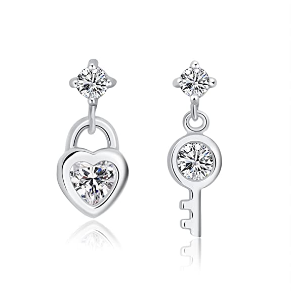 Moon Wings Solid 925 Sterling Silver Heart Shaped Lock & Key Cubic Zirconia Dangle Earrings Nickel Free