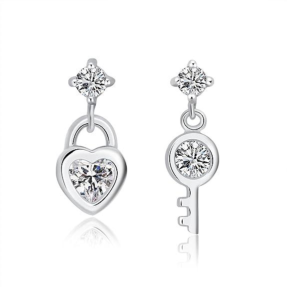Moon Wings Solid 925 Sterling Silver Heart Shaped Lock & Key Cubic Zirconia Dangle Earrings Nickel Free