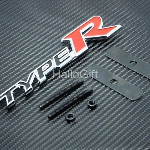 New Type R Logo Grill Grille Emblem (UNIVERSAL FITMENT FOR ALL VEHICLES) Red Black and Silver (R Emblem compare prices)