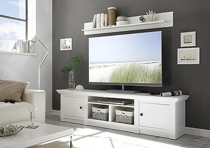 Dreams4Home TV-Lowboard 'Tinnum I' - TV-Schrank, TV-Konsole, Konsole, Schrank, Sideboard, TV-Kommode, Phono Möbel, Schubkasten, Aufbewahrung, modern, Landhaus, Wohnzimmer, Fernsehzimmer, B/H/T: 194 x 51 x 45 cm, Pinie Weiss NB, Ausfuhrung:ohne Wandbo