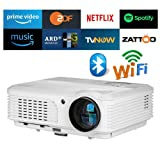 4400 Lumens LED Smart HD Wifi Video Projector with Bluetooth HDMI USB,WXGA Bluetooth Home Theater Wireless Projectors Support 1080P Airplay Miracast for iOS Android Phones Laptop PC DVD TV PS4 Outdoor (Color: WXGA Bluetooth Wifi Projector,4400lumen)