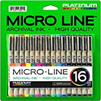Micro-Line Ultra Fine Point Ink Pens - (SET OF 16) - Archival Ink - Assorted Colors in 0.3 MM Felt Tip - 5 Blacks in Tip Sizes 0.25MM to 0.5MM - Competes with Micron Fine Point Permanent Markers from Platinum Art Supplies