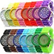 Estone Classic Womens Girls Geneva Silicone Jelly Gel Quartz Analog Sports Wrist Watch (Royal Blue)