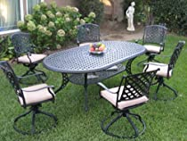 Hot Sale Outdoor Cast Aluminum Patio Furniture 7 Piece Dining Set KL208110T with 6 Swivel Rockers CBM1290