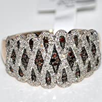 Red Diamond Band Ring 15mm Wide Cocktail Right hand Rose Gold 10K