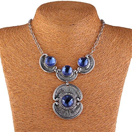 Gray Glass Drill Eye Y Shape Antique Silver Chain Lavalier Bib Necklace