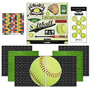Scrapbook Customs Go Big Softball Themed Paper and Stickers Scrapbook Kit from Scrapbook Customs, Inc.
