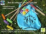 Juego de croquet de madera Junior con bolsa de transporte, artesanía francés