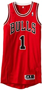 NBA Chicago Bulls Red Authentic Jersey Derrick Rose #1 by adidas