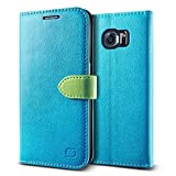 GALAXY S6 レザーケース Lific Vivid Diary ブック タイプ 手帳型 PU レザー ケース スタンド機能付 for Samsung GALAXY S6 SC-05G ターコイズ 【国内正規品】 国内正規品証明書 付