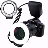 SAMTIAN 48 Macro LED Ring Flash Light with LCD Display Adapter Rings and Flash Diffusers for Canon 750D 760D T6i 550D 600D 650D 700D Nikon D500 D5500 D750 D7100 D7200 D800 D800E D810 Sony A6300 A6000