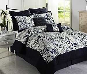 Cozy Beddings Splash Blue 8-Piece Comforter Set with Microfiber Bed Cover, Queen, Navy Blue/White