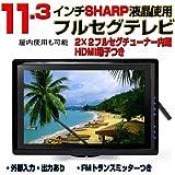 11.3インチ液晶モニター 車載用セット/HDMI入力/2×2フルセグ内蔵/中継局サーチ