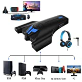Keyboard and Mouse Adapter Converter for Xbox One PS4 PS3 Nintendo Switch & Lite PC with Upgraded 3.5mm Headphone Jack Support in-Game Voice, Button customization with Reset button