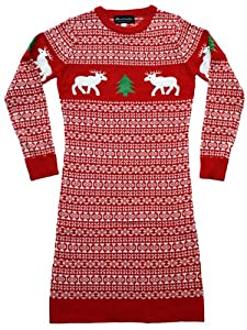 Ugly Christmas Sweater - Women's Holiday Reindeer Sweater Dress in Red