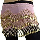 H:oter Chiffon Dangling Gold Coins Belly Dance Hip Scarf (PINK)