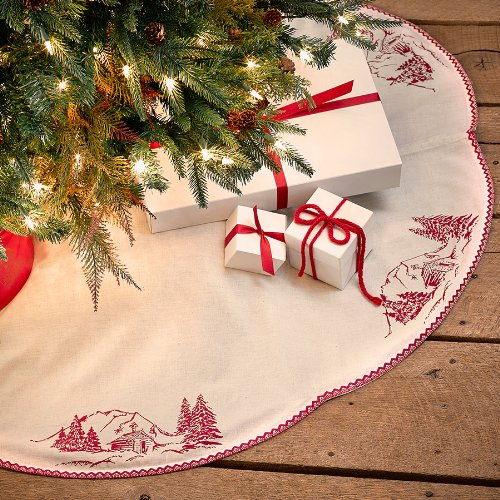 Antique White and Red Tree Skirt