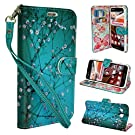 Wallet Case for Lg Optimus G Pro E980 F240k F240s f240l, Customerfirst Pu Leather Wallet Card Flip Open Case Cover Pouch (Blossom Teal)