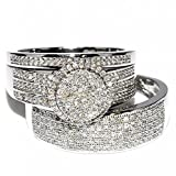 His and Her Rings 2/3cttw 10k White Gold Wide Wedding Set Mens Womens Halo(2/3cttw Diamond, I2/i3 Clarity/ I/j Color)