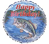 "18"" Bass Fish Happy Birthday Fishing Party Balloon Mylar Dad Fisherman"