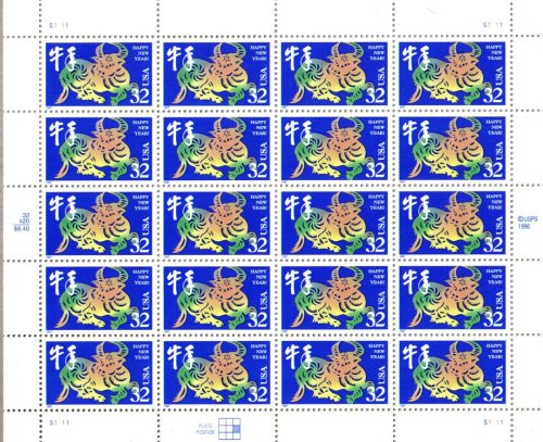 1997 YEAR OF THE OX #3120 Pane of 20 x 32 cents US Postage Stamps