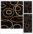 Abrahami Sultan 3-piece Area Rug Set Black Galaxy Rings -Runner - Scatter Rug 6152