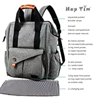 HapTim Multi-function Baby Diaper Bag Backpack W/ Stroller Straps- Insulated Pockets- Changing Pad Included, Nylon Fabric Waterproof for Moms & Dads (Gray-5279) by HapTim