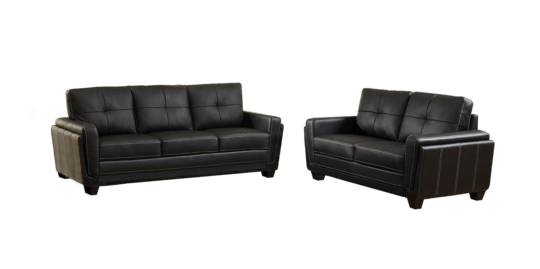 Furniture of America Mitcham Leatherette Sofa - Black