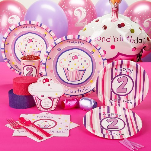 Girls Lil' Cupcake 2nd Birthday Standard Party Pack for 8