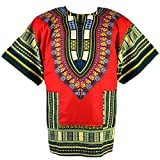 African Dashiki Mexican Poncho Hippie Tribal Ethic Boho Shirt Red