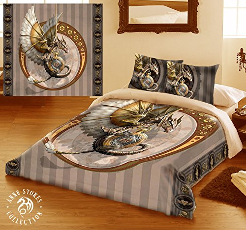 STEAMPUNK DRAGON Double Bed Duvet and Pillowcase Bed Linen Set Artwork by Anne Stokes by Wild Star@Home
