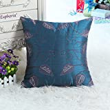 "Euphoria Cushion Covers Pillows Shell Faux Silk Blue Ground Leaves Embroidered 18"" X 18"""