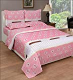 BeautifulHOMES Glory Cotton Double Bedsheet With 2 Pillow Cover - Pink and White
