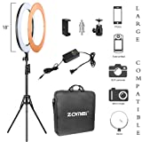 Zomei 18 Inch Ring Light Dimmable LED with Stand Cell Phone Spring Clip Holder Good for Beauty Facial Make Up Live Stream Camera Smartphone YouTube Video Shooting (Color: table stand, Tamaño: 14'' dimmable)