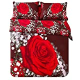 TRUYOO Photo Print 3D Effect Quilt Double Bedding 4 PCS Set 100% Cotton Red Wine Rose