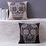 2 Pieces Almofada Mexican Black Flower Skull Printed Case Linen Decorative Throw Pillows for Sofa Home Decor Diamond Cushion Cover