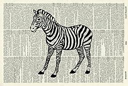 ZEBRA ART PRINT - Wildlife ART PRINT - Animal Art Print - Black & White Print - Victorian ART PRINT - VINTAGE ART - Illustration - Picture - Vintage Dictionary Art Print - Wall Art - Book Print 445D