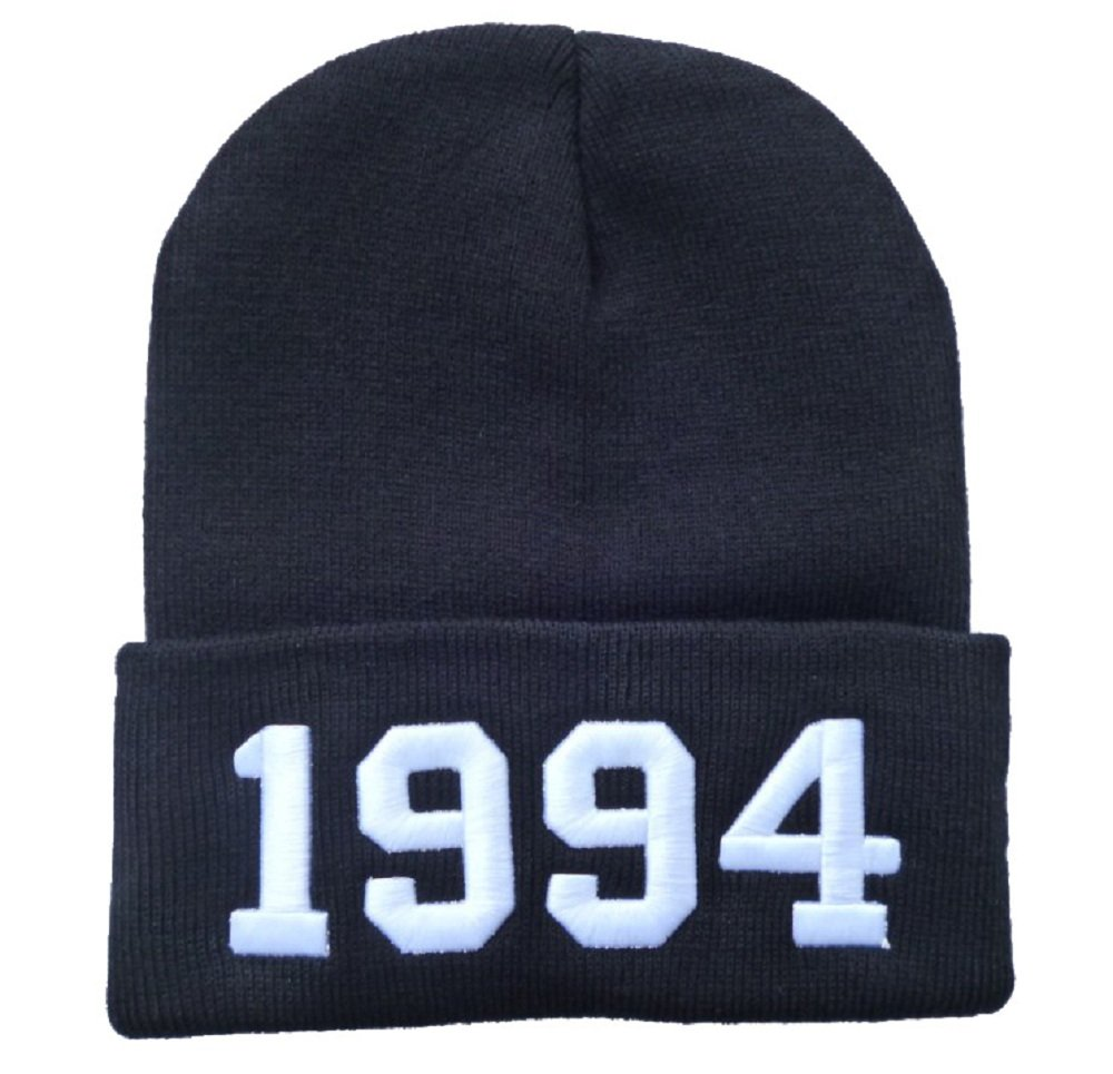 Winter Warm Knit Fashion Black 1994 Beanie Hat for Men and Women Winter Cap Skully Letter Numbered Beanie men s winter warm black full face cover three holes mask cap beanie hat 4vqb